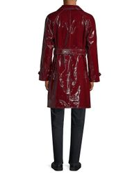 Valentino - Red Leather Trench Coat for Men - Lyst