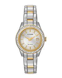 Citizen Metallic Ladies Silhouette Crystal Swarovski Crystal Two-tone Stainless Steel Bracelet Watch