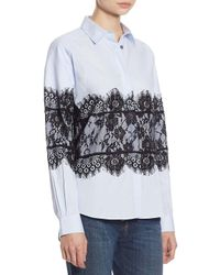 Each x Other Blue Lace Cotton Oxford Shirt