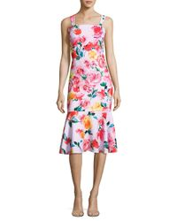 Laundry by Shelli Segal Red Floral-print Trumpet Dress