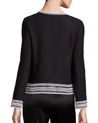 St. John Black Embellished Lacquered Lattice Knit Jacket
