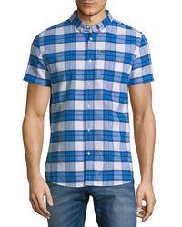 Superdry Blue University Plaid Button-down Shirt for men
