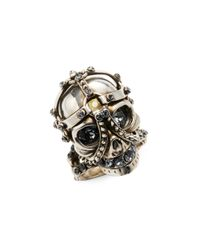 Alexander McQueen | Metallic Trapped Skull Cocktail Ring | Lyst