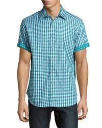Robert Graham Blue Endless Love Checkered Cotton Polo for men
