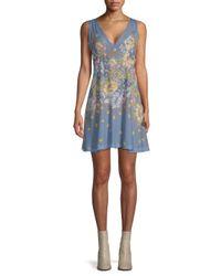 Free People Blue Longwood Printed Mini Dress
