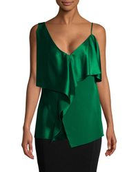 Diane von Furstenberg Green Asymmetric Ruffled Satin Top