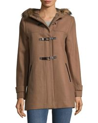 Cole Haan Brown Wool Hooded Coat With Faux Fur Trim