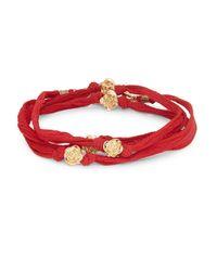 King Baby Studio Red Rose Beaded Wrap Bracelet
