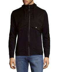 Antony Morato Black Pocketed Zip Front Hoodie for men