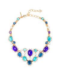 Oscar de la Renta Blue Aqua Star Resin Bib Necklace