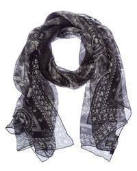 Givenchy - Gray Tiger Print Silk Scarf - Lyst