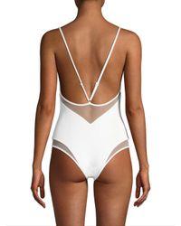 Tori Praver Swimwear White Belle High Leg One-piece Swimsuit