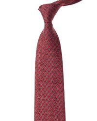 Ferragamo Red Penguins Silk Tie for men