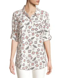 Karl Lagerfeld White Paris French Streets Roll-sleeve Button-down Shirt