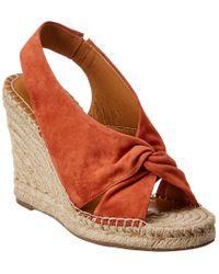 Joie Orange Kaili Suede Wedge Sandal