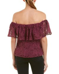 Zac Zac Posen Red Floral Off-the-shoulder Floral Cut Out Cropped Top