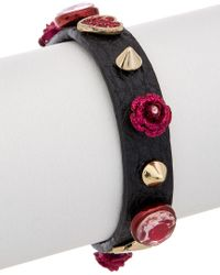 Betsey Johnson - Multicolor Roses Cz & Leather Wrap Bracelet - Lyst