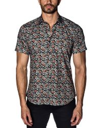 Jared Lang Black Men's Semi-fitted Camo-suitcase Short-sleeve Sport Shirt for men