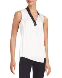 Bailey 44 White Faux Leather-trimmed Draped Stretch Jersey Top
