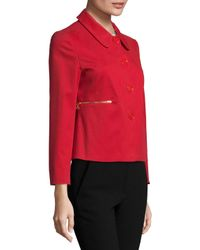 Love Moschino Red Cotton Point Collar Cropped Jacket