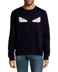 Fendi Blue Cat Eye Embroidery Pullover for men
