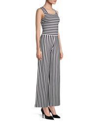 Armani Exchange Blue Squareneck Striped Jumpsuit