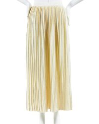 Gucci Multicolor Nwot Almond Cream & Metallic Gold Wool & Lurex Pleated Skirt Sz S