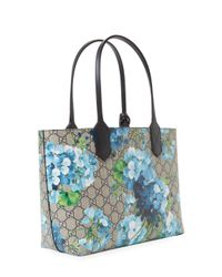 Gucci Limited Edition Blue GG Blooms Canvas & Leather Reversible Tote