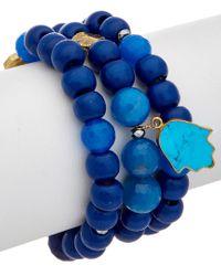 Alanna Bess Blue 18k Over Silver Gemstone Set Of 3 Bracelets