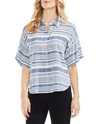 Vince Camuto Blue Striped Button-down Shirt