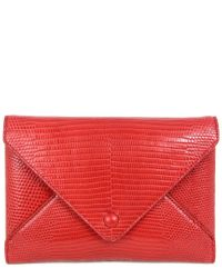 The Row Red Envelope Lizard-embossed Leather Wallet On Chain