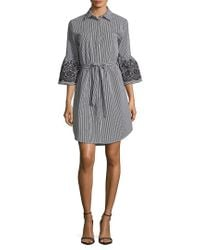 Calvin Klein Gray Embroidered Bell-sleeve Tied Shirt Dress