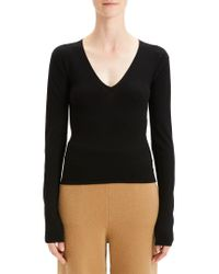 Theory Black Low V-neck Wool-blend Sweater
