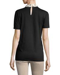 Miu Miu Black Contrast Collar Top