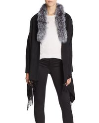 Saks Fifth Avenue Gray Fox Fur Fringe Wrap