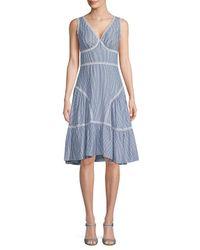 Max Studio Blue Striped Knee-length Dress