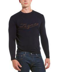 Ermenegildo Zegna Blue Premium Cashmere Sweatshirt for men