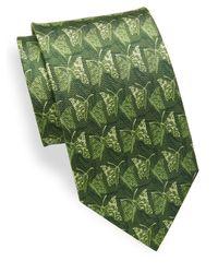 Ferragamo Green Butterfly Printed Silk Tie for men