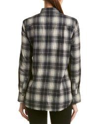 Vince Black Plaid Frayed Trim Flannel Shirt