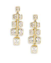 Saks Fifth Avenue - Metallic Cubic Zirconia And Goldtone Modern Earrings - Lyst