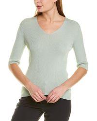 Lafayette 148 New York Blue Rib V-neck Silk-blend Pullover Sweater