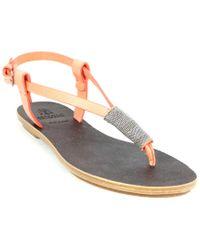 Brunello Cucinelli Multicolor Leather Thong Sandal