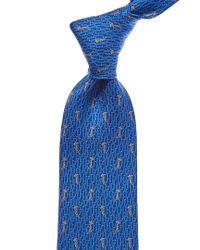 Ferragamo - Blue Giraffe Silk Tie for Men - Lyst