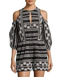 Rachel Zoe Black Tory Cold-shoulder Broderie Cotton Anglaise Playsuit