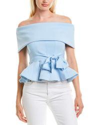 Gracia Blue Off-the-shoulder Top