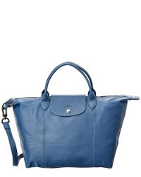 Longchamp Le Pliage Cuir Large Leather Short Handle Tote in Blue ...