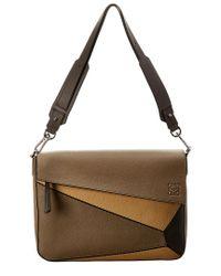 Loewe Brown Puzzle Leather Shoulder Bag for men