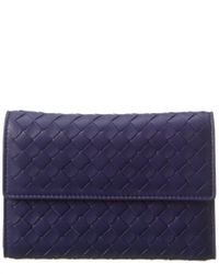 Bottega Veneta Blue Intrecciato Leather Wallet