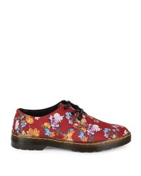 Dr. Martens Red Gizelle Floral Low-top Sneakers