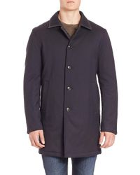 Saks Fifth Avenue Blue Collection Reversible Quilted Wool Blend Coat for men